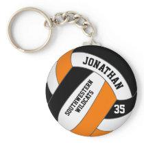 black orange team name boys' volleyball keychain