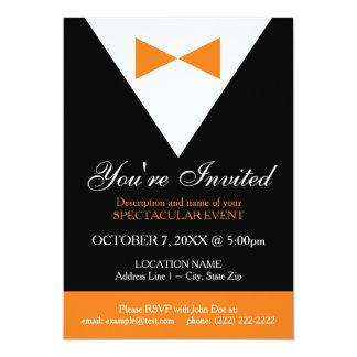 Black & Orange Tuxedo Invitations, Modern, Formal Card