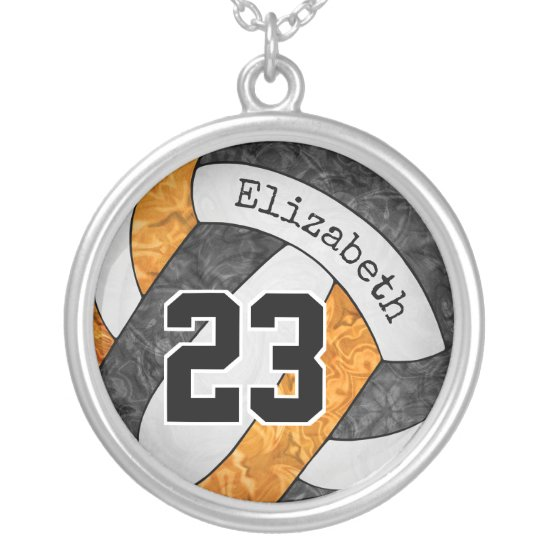 black orange volleyball team colors girls' sporty silver plated necklace
