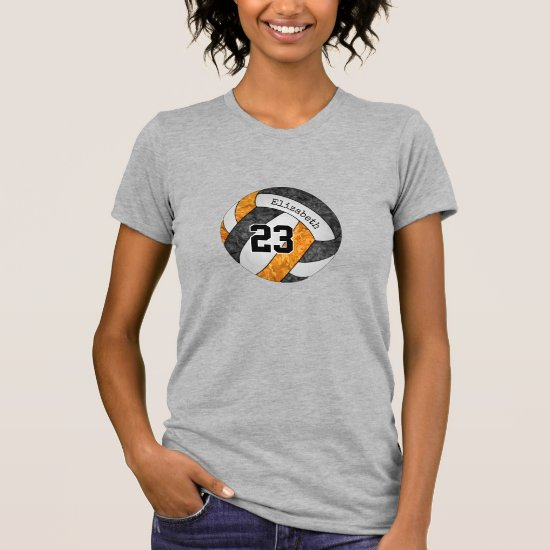 black orange volleyball team w name jersey number T-Shirt
