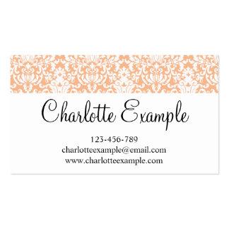 Black Orange White Floral Damask Classic Business Card