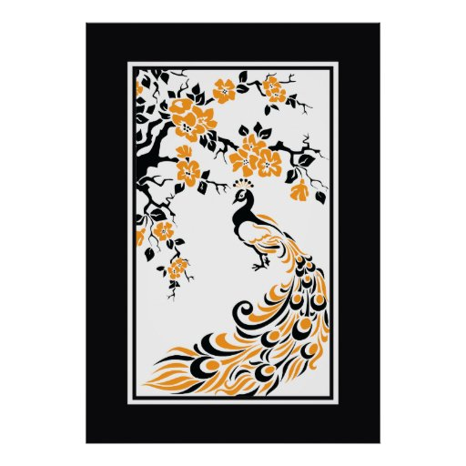 Black, orange, white peacock and cherry blossoms poster