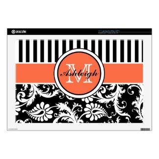 Black, Orange, White Stripe Damask Laptop Skin
