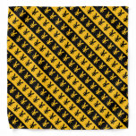 [ Thumbnail: Black & Orange Yen Signs (¥) Striped Pattern Bandana ]