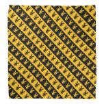 [ Thumbnail: Black & Orange Yen Signs (¥) Striped Pattern Bandana ]