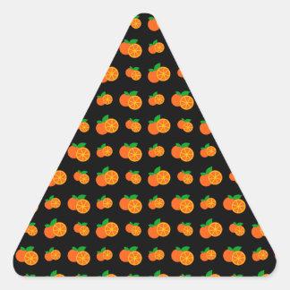 Black oranges pattern triangle sticker