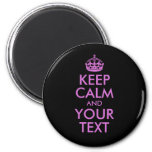 Black Orchid Keep Calm and Your Text 2 Inch Round Magnet