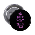 Black Orchid Keep Calm and Your Text 2 Inch Round Button
