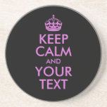 Black Orchid Keep Calm and Your Text Beverage Coaster