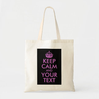 Black Orchid Keep Calm and Your Text Tote Bag