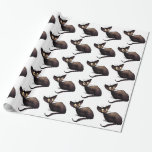 Black Oriental Cat Gift Wrapping Paper