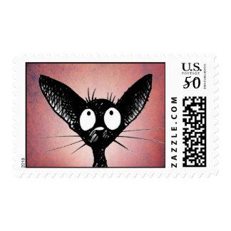 Black Oriental Shorthair Cat Art on Pink Postage