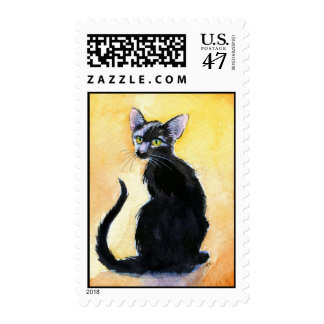 Black oriental shorthair cat or kitten postage