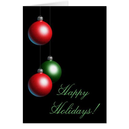 Black Ornament Happy Holidays Card