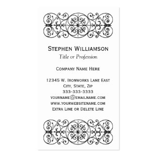 Black Ornamental Scroll Wrought Iron Professional Business Card