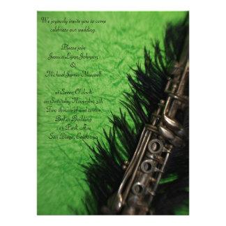 Black Ostrich Feather and Clarinet Wedding Custom Invite