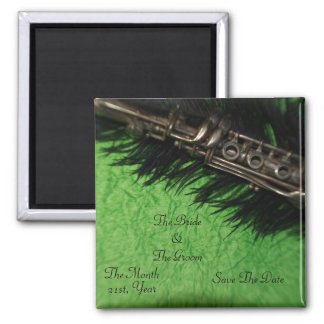 Black Ostrich Feather and Clarinet  Wedding Magnets