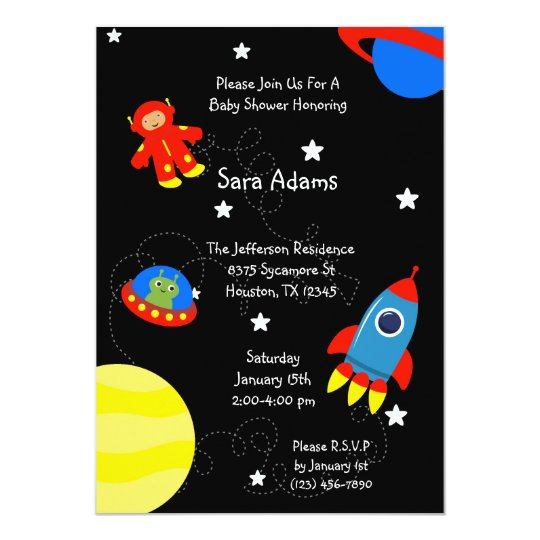 Black Outer Space Alien 5x7 Baby Shower Invitation