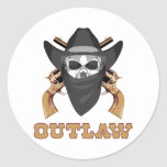 Black Outlaw Round Stickers