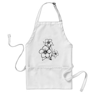 Black outline of three flower adult apron