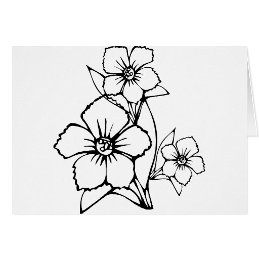 Black outline of three flower greeting card