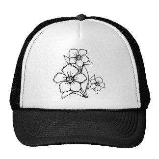 Black outline of three flower hats