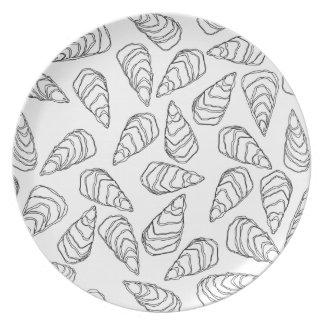 Black Outlined Oyster Shells on White Dinner Plate