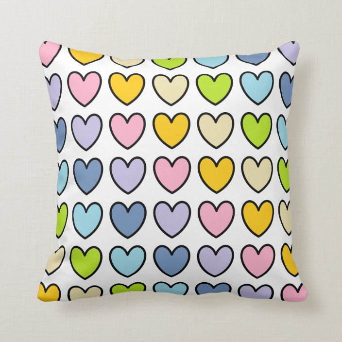 Black Outlined Pastel Rainbow Hearts Throw Pillow Zazzle Com