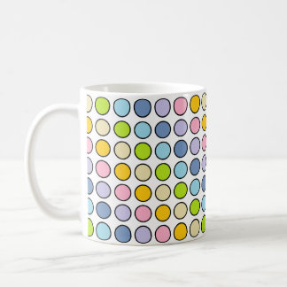 Black Outlined Pastel Rainbow Polka Dots Coffee Mug