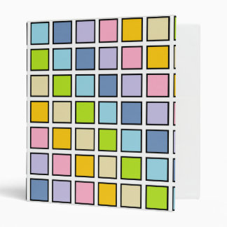 Black Outlined Pastel Rainbow Squares 3 Ring Binder