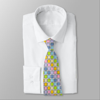 Black Outlined Pastel Rainbow Squares Tie