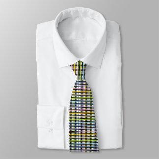 Black Outlined Pastel Rainbow Weave Tie