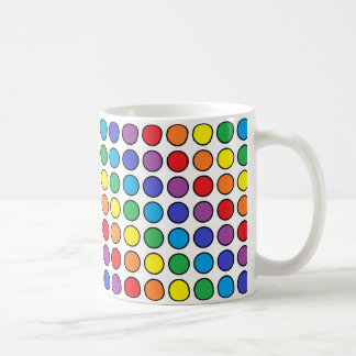 Black Outlined Rainbow Polka Dots Coffee Mug