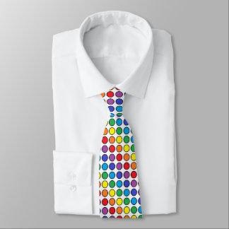 Black Outlined Rainbow Polka Dots Neck Tie