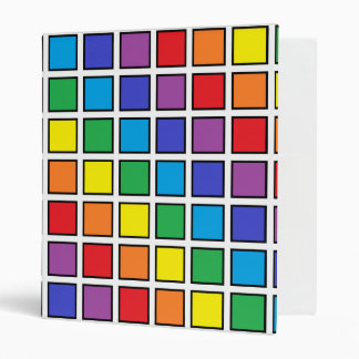 Black Outlined Rainbow Squares 3 Ring Binder
