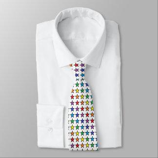 Black Outlined Rainbow Stars Neck Tie