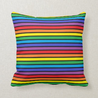 Black Outlined Rainbow Stripes Throw Pillow