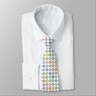 Black Outlined Static Pastel Rainbow Diamonds Tie