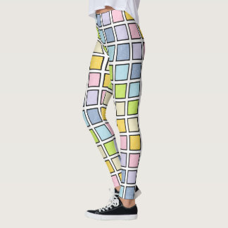 Black Outlined Static Pastel Rainbow Squares Leggings