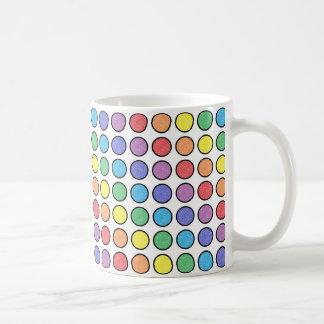 Black Outlined Static Rainbow Polka Dots Coffee Mug
