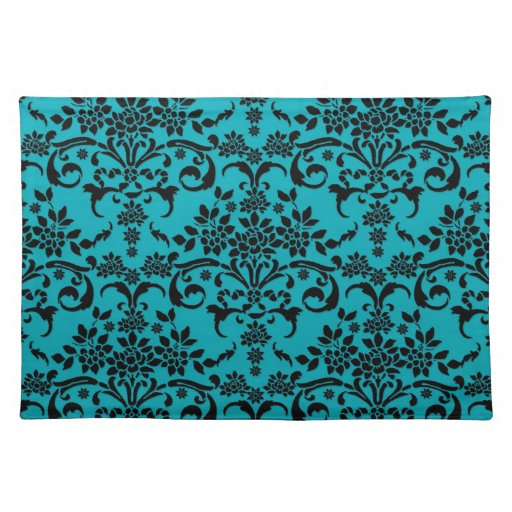 Black Over Turquoise Fancy Damask Pattern Placemats Zazzle