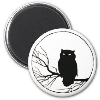black owl 2 inch round magnet