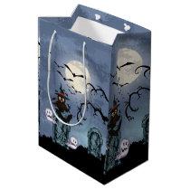 Black Owl Bats And Ghosts Halloween Illustration Medium Gift Bag