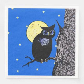 Black Owl Blue eyes in Tree Yellow Moon Stars Paper Dinner Napkin