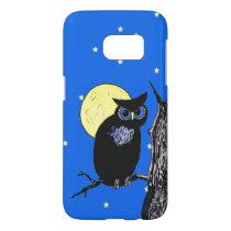 Black Owl Blue eyes Sitting in Tree Moon Stars Samsung Galaxy S7 Case