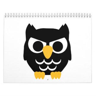 Black Owl Wall Calendar