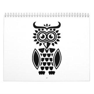 Black owl design calendar