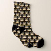 Black Owl Doodle Face Socks
