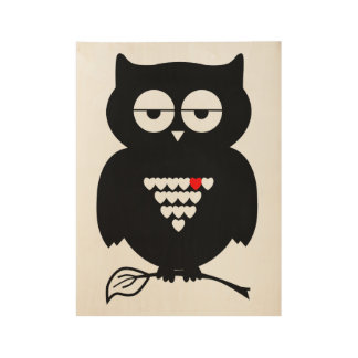 Black Owl Holding Twig Poster Wood Poster