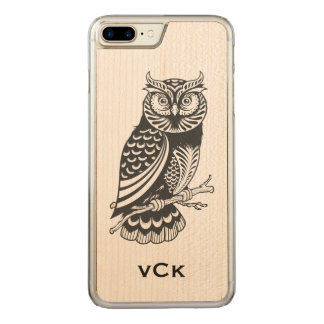 Black Owl Line Drawing Carved iPhone 7 Plus Case